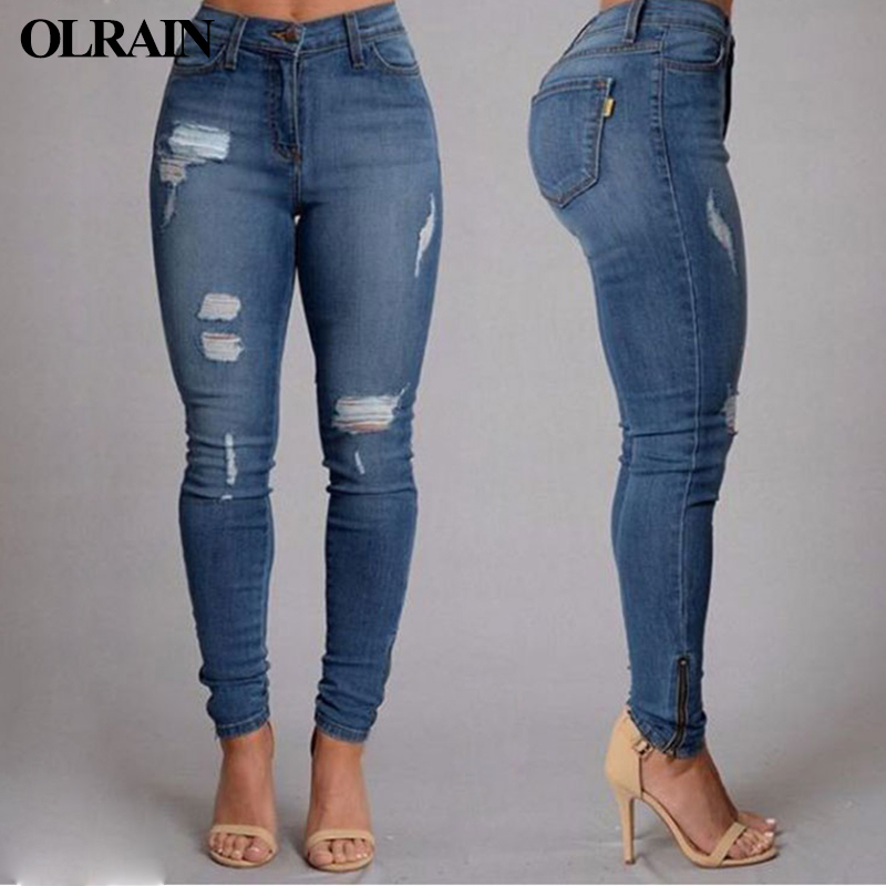 цены Olrain 2017 New Women Vintage Blue Washed Denim Pants Slim Sexy Ladies Washed Hole Ripped Skinny Jeans Pencil Pants Trousers