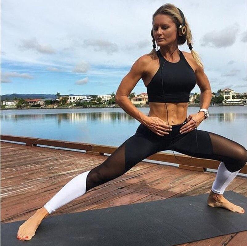 Mulheres quentes leggings fio líquido cor de emenda leggins calças capri malha respirável sexy feminino leggings jeggings