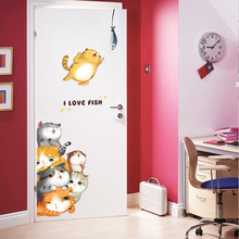 75*197cm Lovely Cartoon Cats Wall Stickers Love Fish Door Cute Home Decor for Kids Room DIY Decals Removable