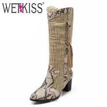 Western Style Sexy Snake Prints Patch Color Tassel Half Knee Boots Spring Autumn Winter Boots 2016 High Heels Warm Winter Shoes