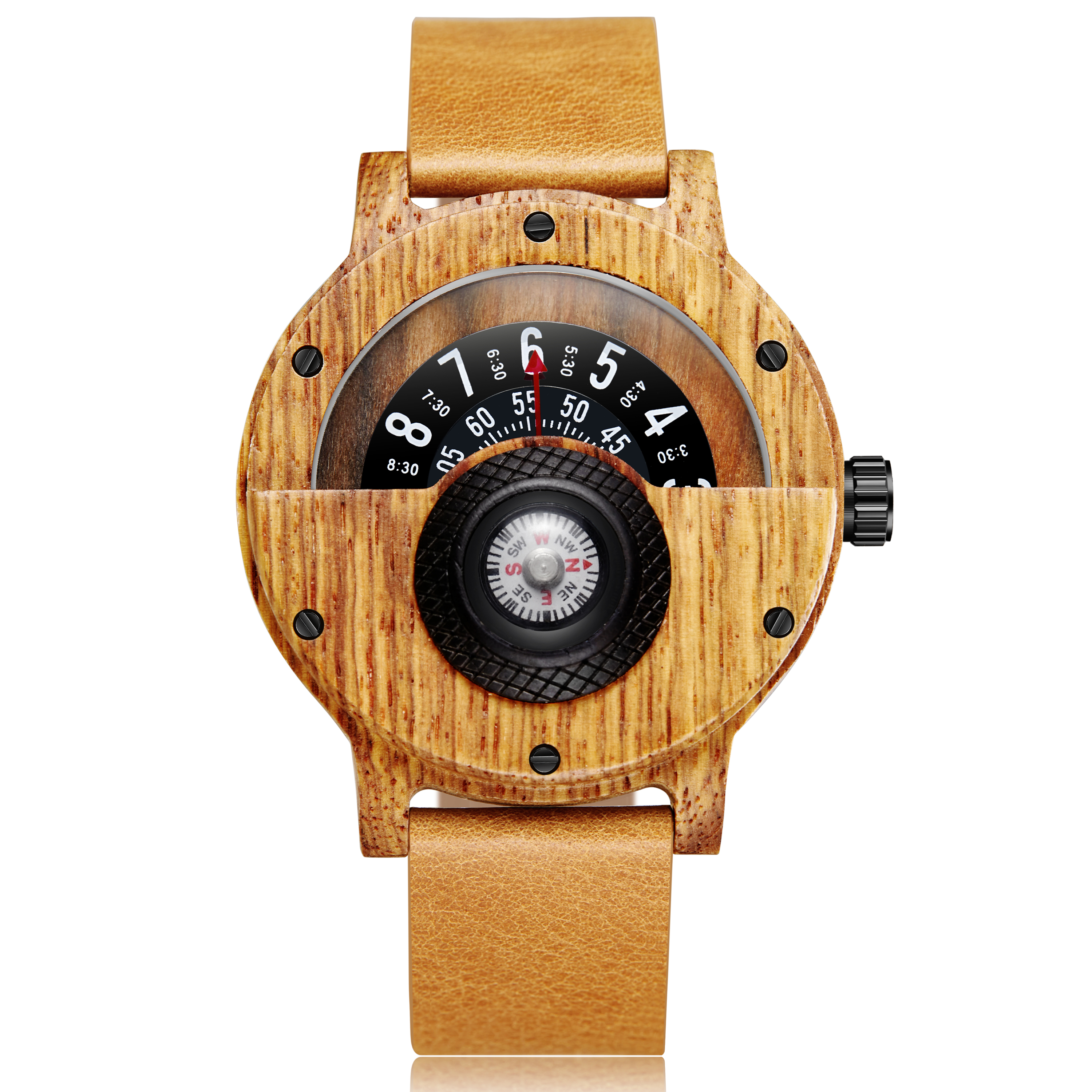 Creative Wooden Watch Men Wrist Watches Real Solid Natural Walnut Wood Watches Rosewood Male Turntable Compass Wristwatch Clock(China)