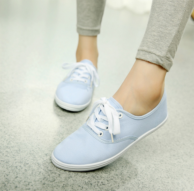 Women Canvas Shoes Lace Up Casual Shoes Woman Flats White Shoes Candy Color Breathable shoes Ladies Espadrilles Big Size 35-42 стоимость