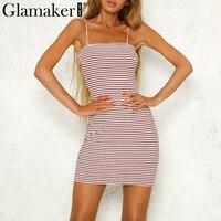 Glamaker Stripe Sexy Knitted Dress Women Fitness Slim Short Bodycon Dress Summer Elegant Party Dress Female
