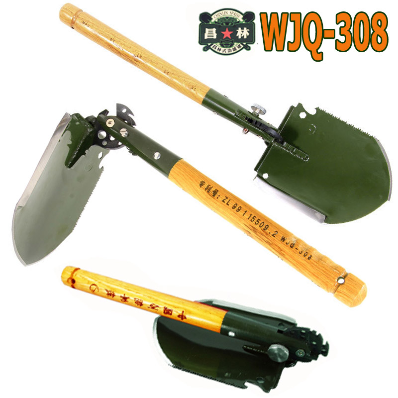 2017 chinese military shovel folding portable shovel WJQ-308 multifunctional camping shovels hunting edc outdoor survival shovel military type stainless steel folding shovel camping tool black size l