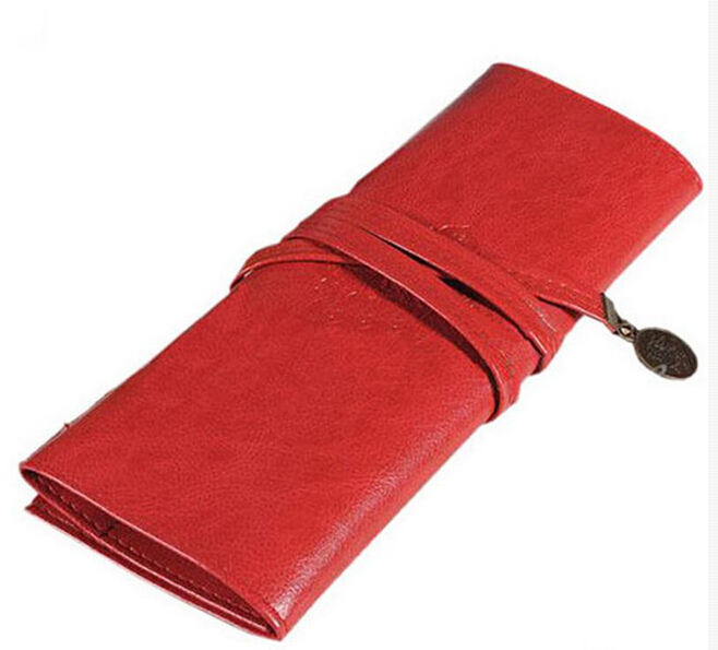 1Pc Roll Leather Make Up Cosmetic Pen Pencil Case Pouch Purse Bag For School