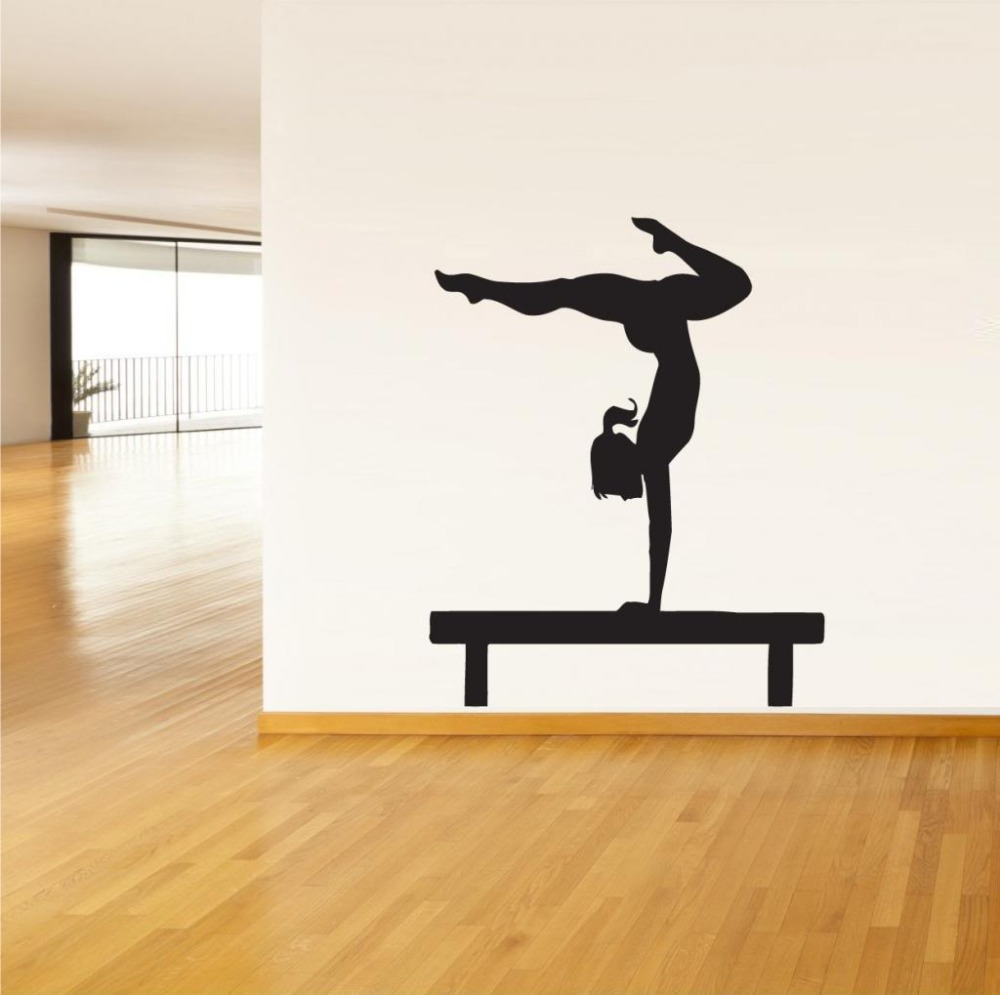 Yoga Sport Wall sticker Vinyl decor wall decal Girl Gymnastics ...
