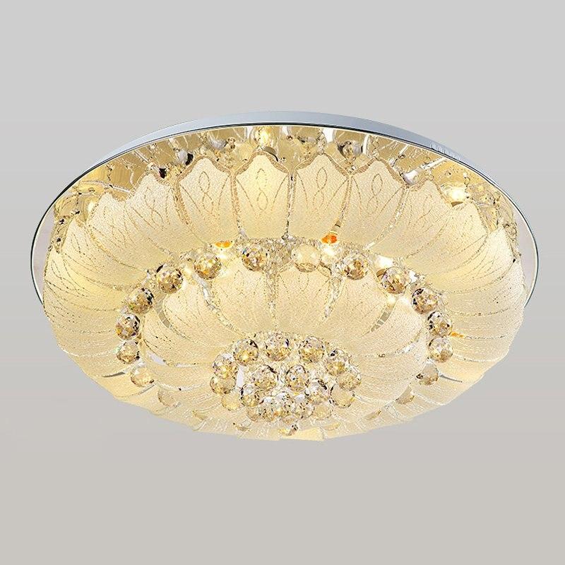 ⑧Nouveau Cristal Moderne Salon Plafonnier De Luxe rond En Acier