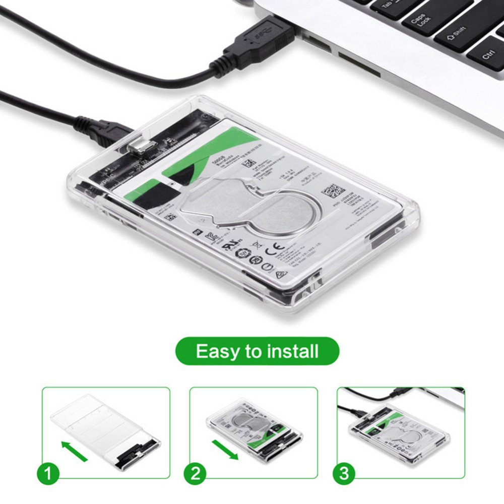 Transparent HDD Case Type C to USB3.1 2.5 inch Hard Drive Enclosure Support UASP Protocol Type-C To SATA SSD Enclosure