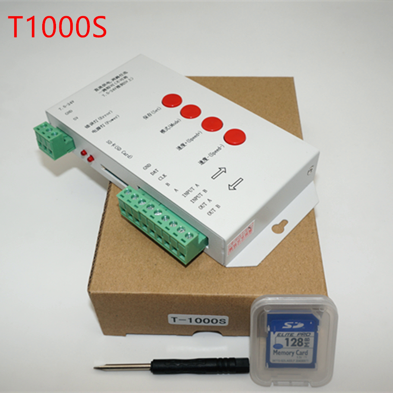 free shipping T1000S SD Card WS2801 WS2811 WS2812B LPD6803 etc LED 2048 Pixels Controller DC5~24V T-1000S DMX 512 RGB Controller