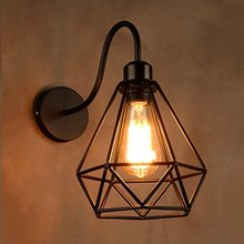 Lámpara de pared, apliques de luces con marco de jaula de Metal en forma de diamante de hierro forjado para restaurante de interior, Bar, café, Club, pasillo