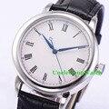 40mm Caso Polido Mens Relógios Automáticos Estéril Branco Dial Roman Marcas Breve Pulseira de Couro Preto Relógio Orologio WDT7031ASK