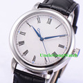 40mm Polished Case Mens Automatic Watches White Sterile Dial Roman Marks Brief Orologio Black Leather Strap Timepiece WDT7031ASK