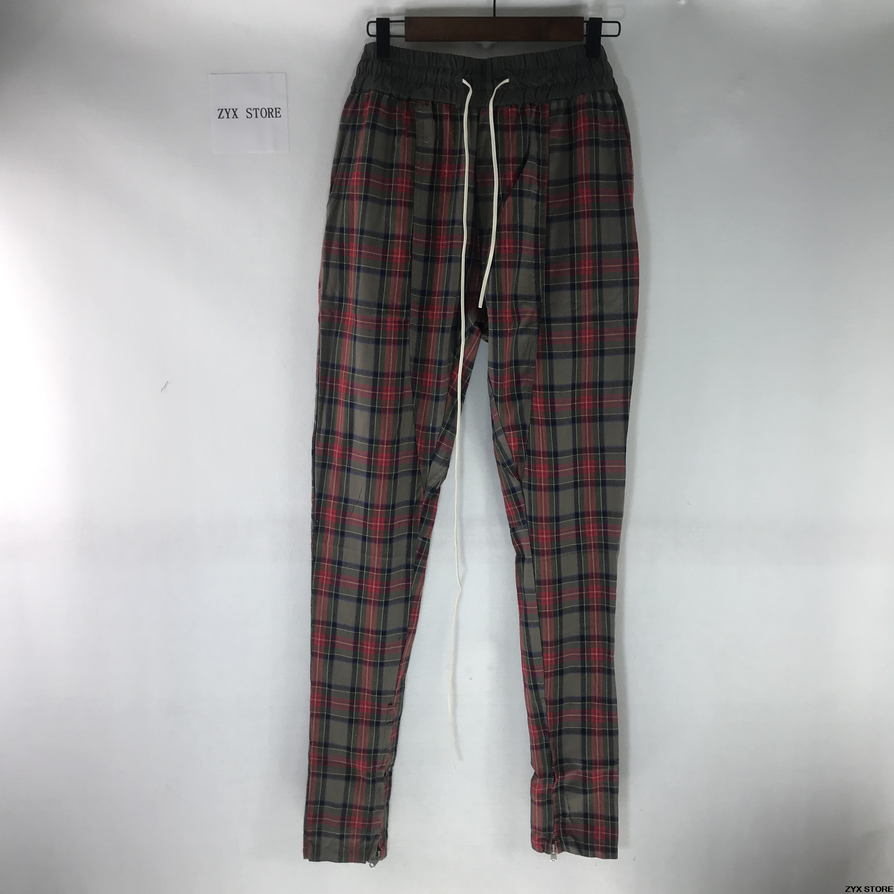 Best Version Fear Of God Fifth Collection New Plaid Pants Hiphop Justin Bieber Scotch Lattice Side Zip Men FOG Pants Trousers fifth harmony acapulco