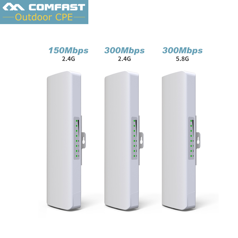 2PC Long Range Wireless Bridge Router 300mbps 5G/150mbps 2.4G Outdoor CPE Wireless POE Adapter For Elevator monitoring Camera