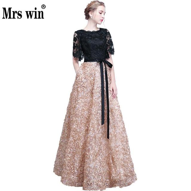 Evening Dresses 2018 New Elegant O-neck Lace Cut-out Half Sleeve Luxury Applique Long Noble Banquet Party Prom Robe De Soiree X