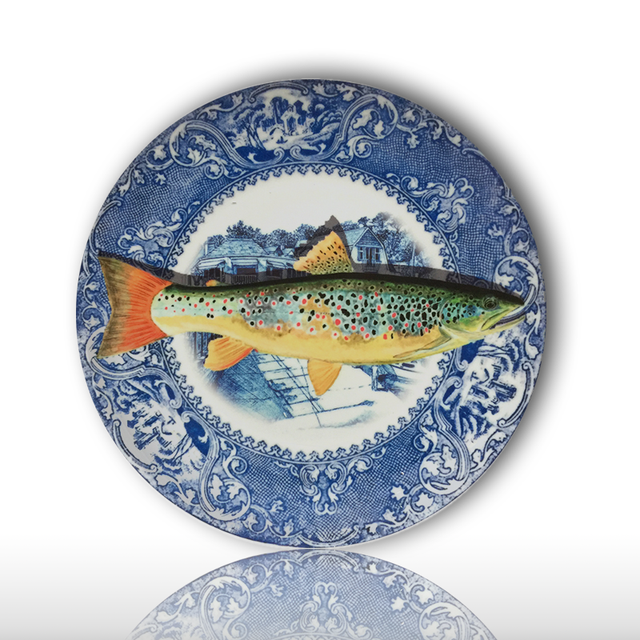 blue and white fish dish restaurant background wall decoration