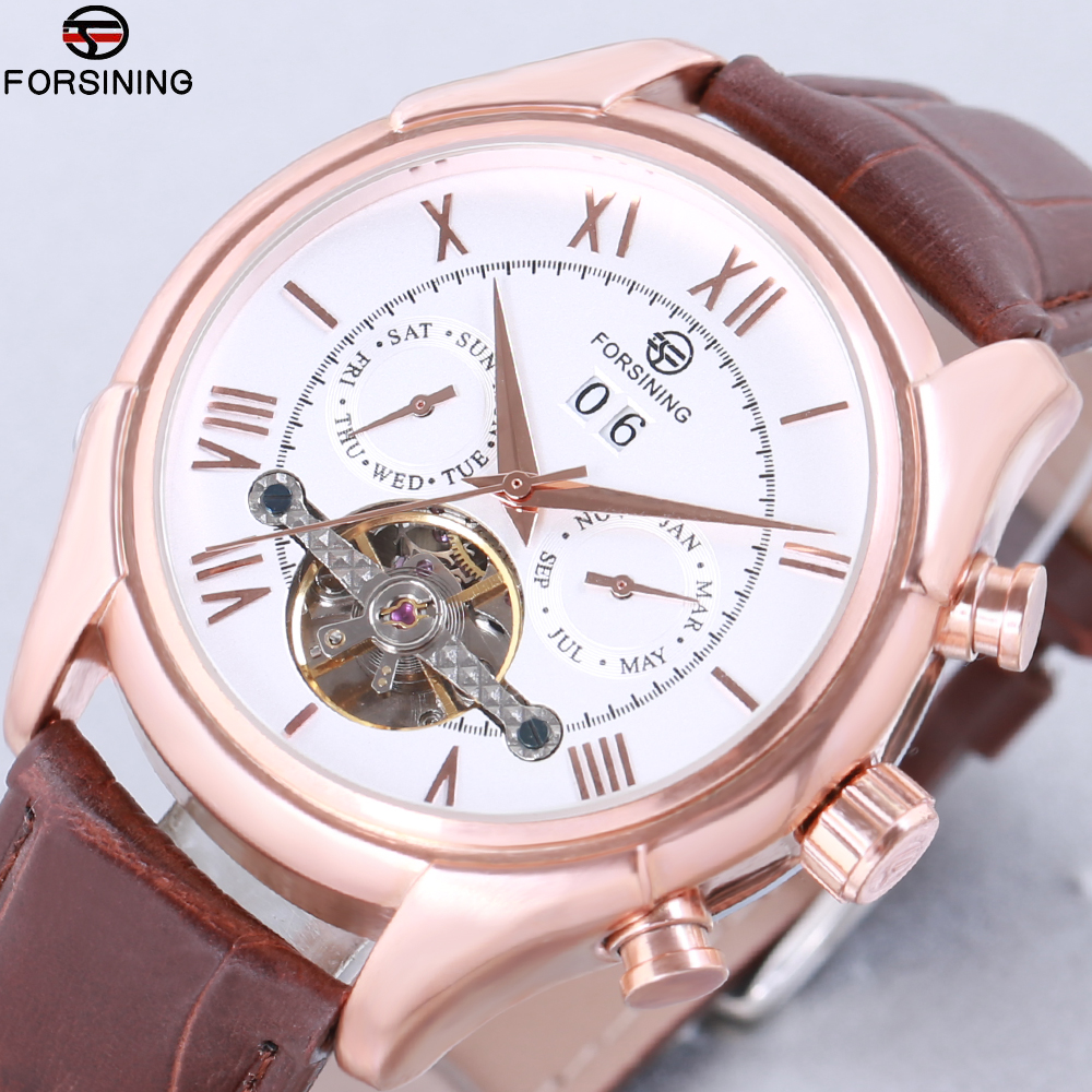 FORSINING Luxury Mechanical Watch Men Business Tourbillon Automatic Watches Leather Band Auto-Calendar Clock Relogios Masculino dom men watch top luxury men quartz analog clock leather steel strap watches hours complete calendar relogios masculino m 11