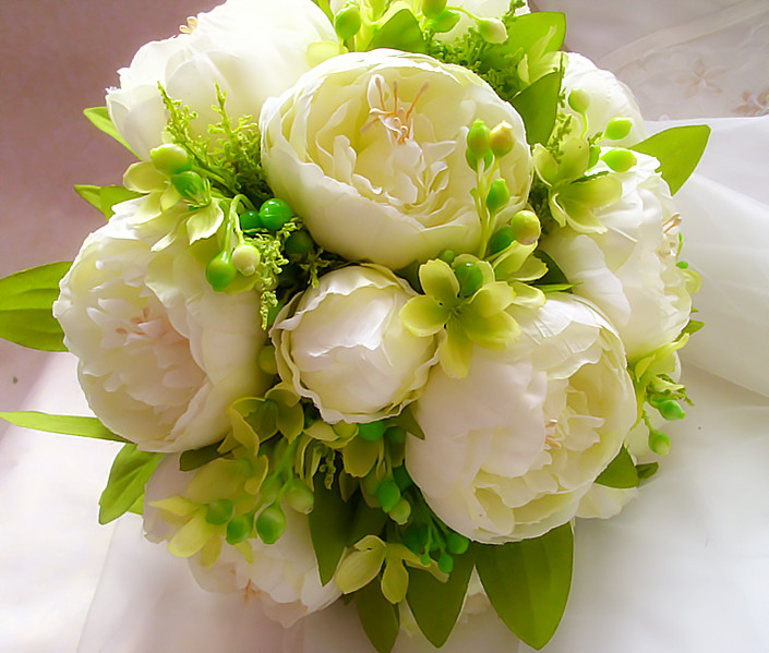 Wedding Flowers Cheap Online: 2017 Bouquet De Mariage Cheap White Peony Wedding Bouquet