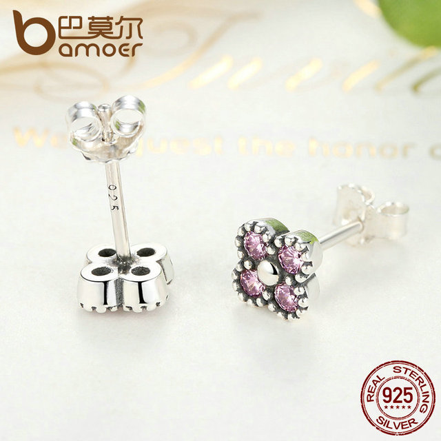 Sterling Silver CZ Push Back Stud Earrings