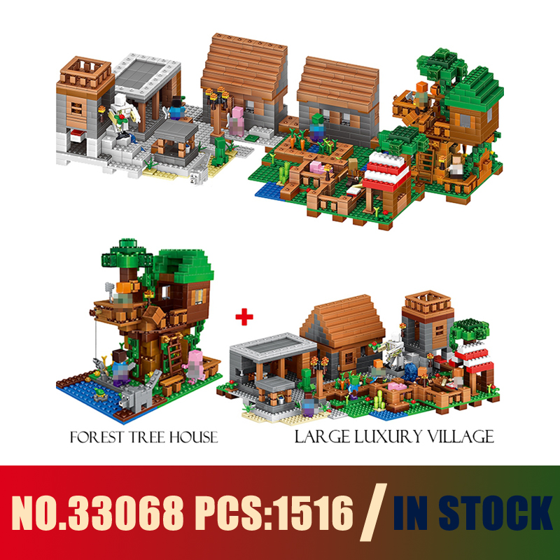 Models building toy 33068 1516PCS My World The Village & Jungle Tree House Building Blocks Compatible with lego toys & hobbies oh my god it s electro house volume 4