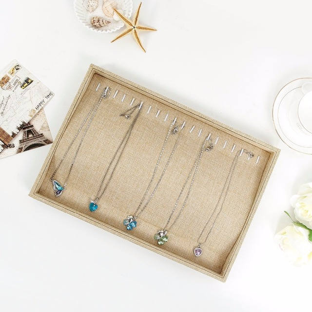 Sack Cloth 20 Hooks Jewelry Tray Stackable Necklace Display Showcase