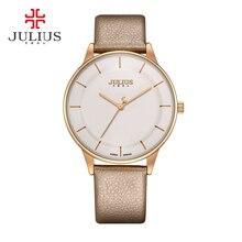 Женщины новый простой мода повседневная популярные ежедневно кварцевые часы Красивая Девушка любовь хороший подарок красивый кожаный ремешок Julius 957
