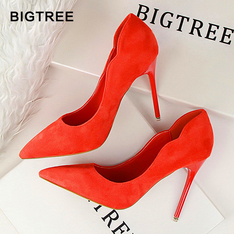 BIGTREE2018New Super High Women Shoes Pointed Toe Flock Women Pumps  Fashion Sexy  High Heels Office Shoes Women Wedding Shoes