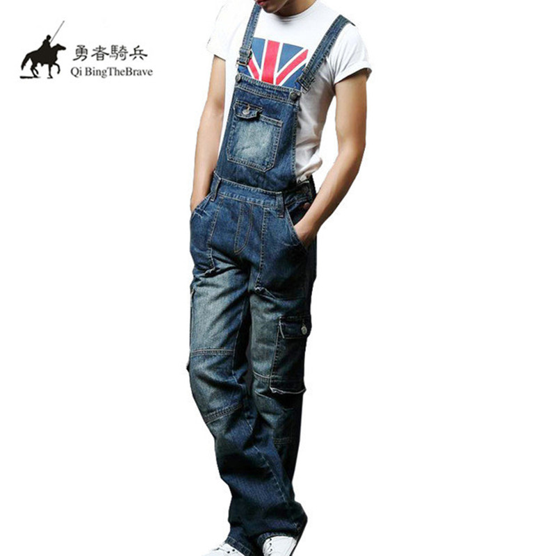 2017 Plus Size S-8XL Mens blue Denim Jumpsuits Fashion Bib Overalls with Pockets for Male Men Jeans Suspender Bib Pants 071201
