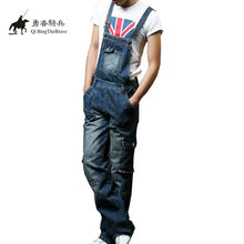 2017 Plus Size S-8XL Mens blue Denim Jumpsuits Fashion Bib Overalls with Pockets for Male Men Jeans Suspender Bib Pants 071201(China)