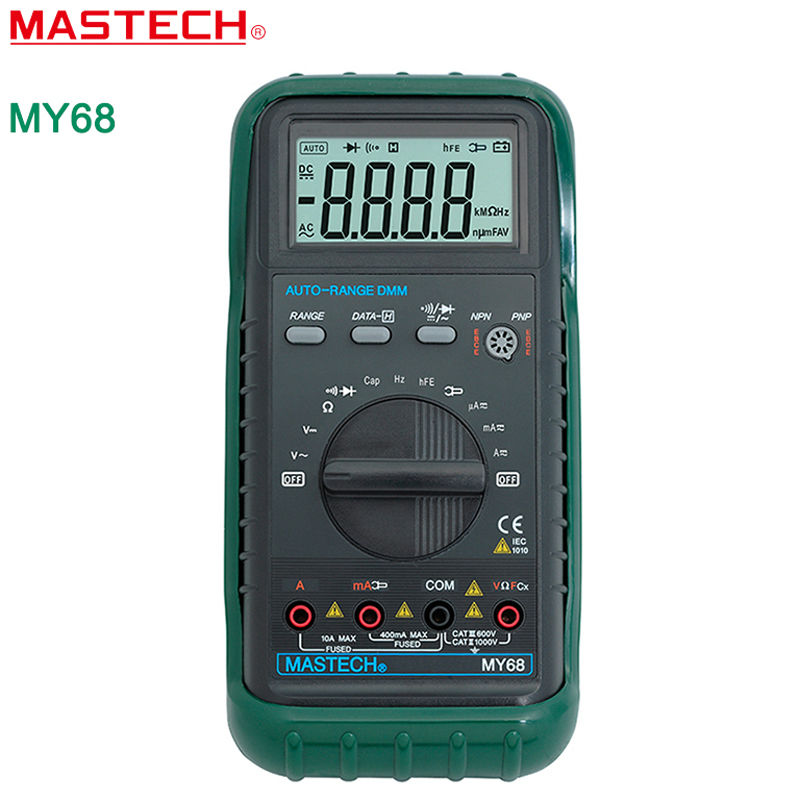 MASTECH MY68 New Digital Multimeter Electronic handheld multimeter 3 3/4 LCD 3999 Counts Auto Ranging AC DC Digital Multitester my68 handheld auto range digital multimeter dmm w capacitance frequency