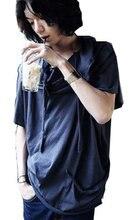 2016 Summer Style T shirt Men s Irregular Street Fashion Hip Hop Applique Batwing Sleeve Hood