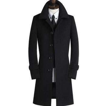 Black khaki casual long sleeve wool coat men 2016 jackets and coats mens double-breasted wool overcoats winter trench jacket