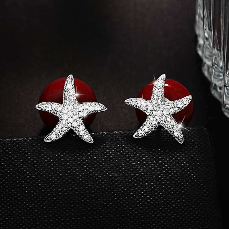 Fashion Cubic Zirconia Starfish Stud Earrings White And Red Pearl Earrings For Women Double Side Silver Color Party Jewelry