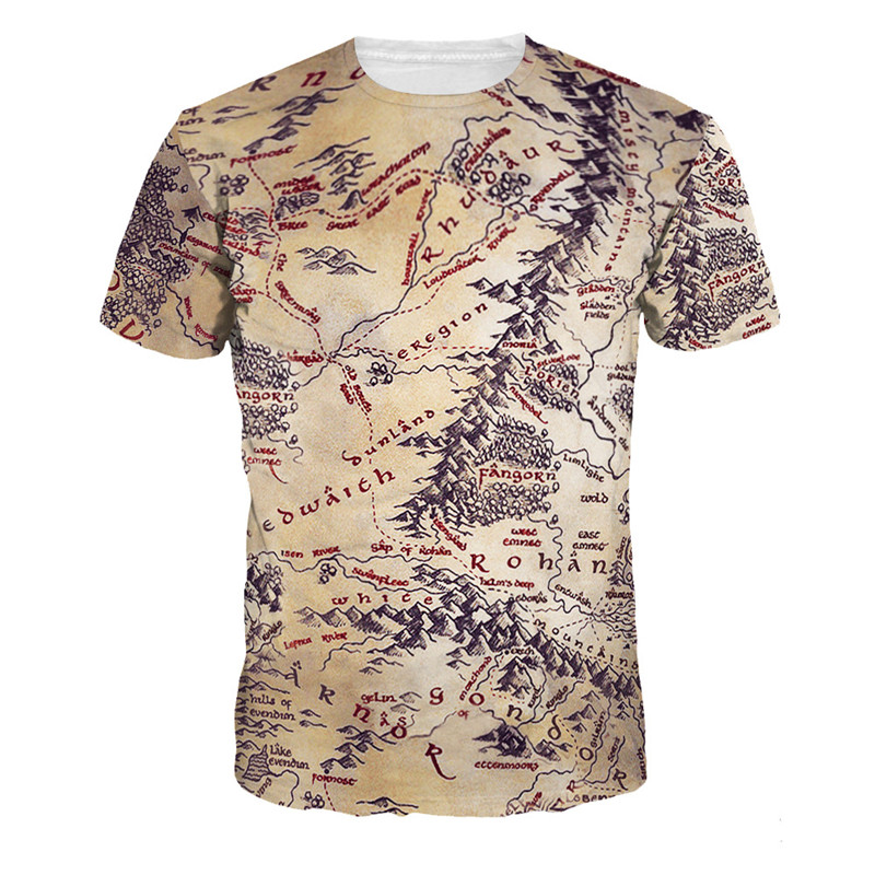 Funny Tshirt Men Map Pattern American Style Hot Sale Mens Summer Autumn Custom Print Short Sleeve Large Size Shirts Polyester