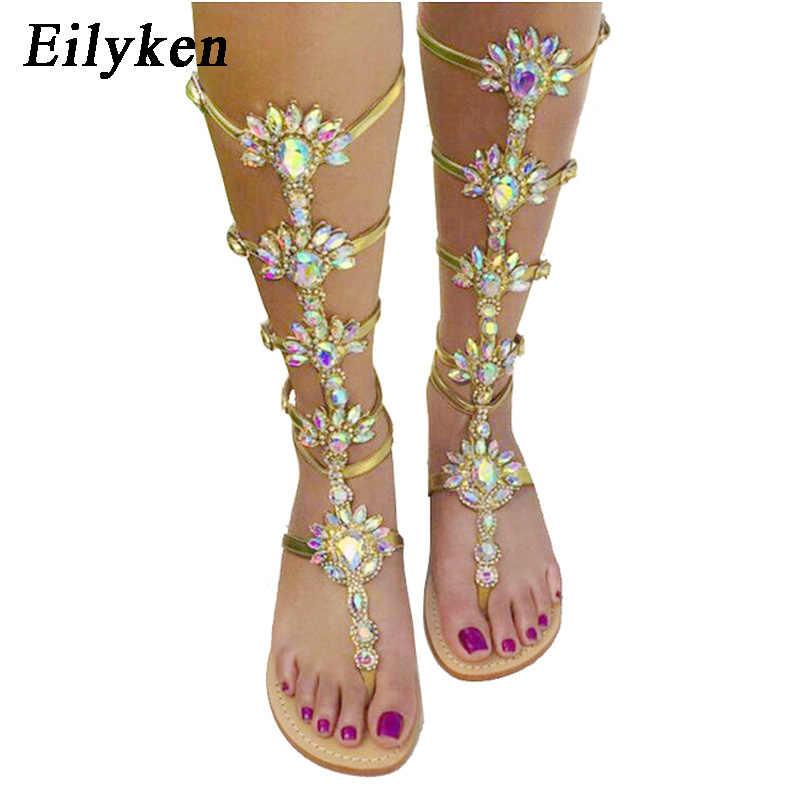 b620592d9a6 Eilyken Summer Flats Sandal Gladiator Gold Rhinestone Knee High Buckle Strap  Woman Boots Bohemia Style Crystal
