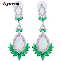 Ayowei 2017 New Arrival Hợp Thời Trang Màu Trắng Xanh Cháy Opal Bạc Đóng Dấu Fashion Jewelry Drop Earrings OES637A cho Phụ N
