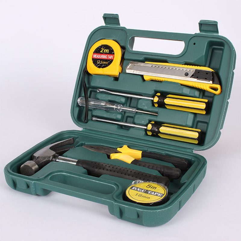 Household hardware tools combination 9pc set Family Gift box tool kit tape measure screwdriver hammer repair