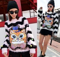European station 2018 autumn and winter new Harajuku street fashion cartoon striped loose owl sweater sweater head sweater