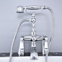 цена на Bathroom Polished Chrome Deck Mount Bathtub Faucet with Ceramic Style Handles Shower Mixer Tap ztf766