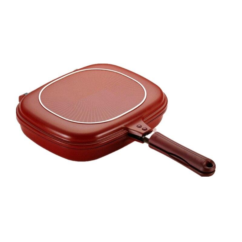 Haute qualité 28 cm Taille Pan Double Side Grill Poêle À Frire Ustensiles de Cuisine Double Visage Pan Steak Poêle À Frire Crêpes en plein air fournitures de cuisine