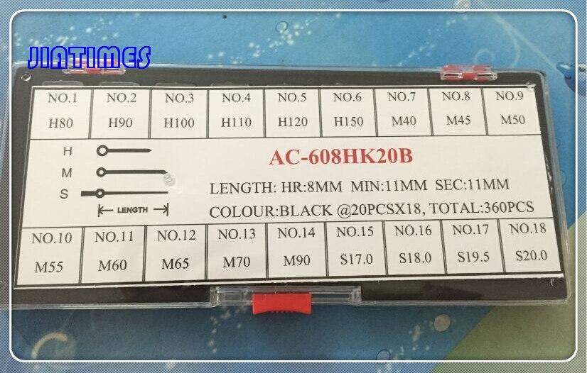 Free Shipping 360pcs Black Watch Hand Set for Watch Repair