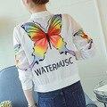 Protetor solar mulheres clothing verão jaqueta casual fina 3d borboleta carta impressão perspectiva senhoras casaco praia