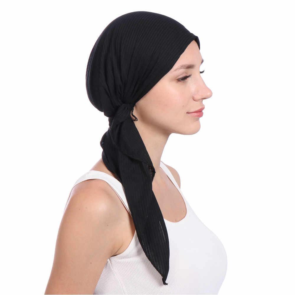 Индийский Эластичный Тюрбан Женская головная повязка с оборками и раком Chemo Hair Tail Hat Beanie банданы шарф для головы головные уборы тренировки CapPJ0906