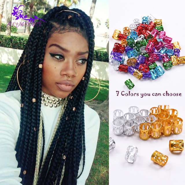100pcs lot Havana Mambo Dreadlocs Beads Golden Silver Colorful