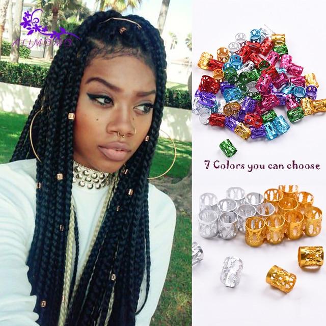 100pcslot Havana Mambo Dreadlocs Beads Golden Silver