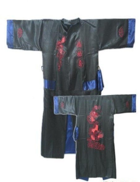 New Men Bathrobe Embroider with Dragon  Robe Kimono Gown Homewear YF1302