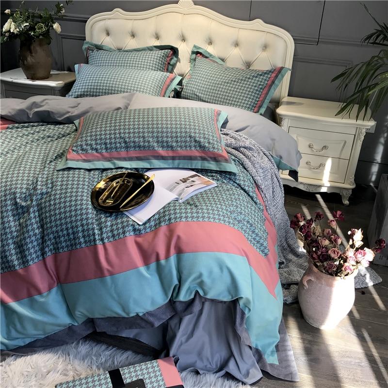 Luxus Schleifen 100% baumwolle Gedruckt Blume Plaid bettwäsche sets Königin König Hochzeit Duvet abdeckung bettlaken set Kissenbezüge 4 stücke blau - 5