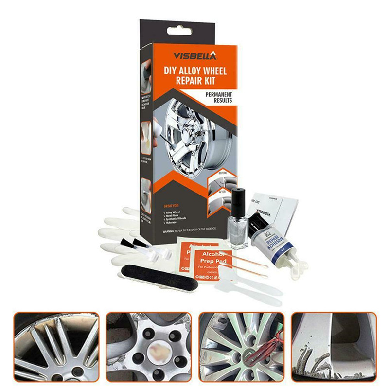 DIY Alloy Wheel Repair Kit 5 Minutes General Purpose Silver Paint Fix Tool Car Auto Rim Dent Scratch Car Wheel Repair Kit