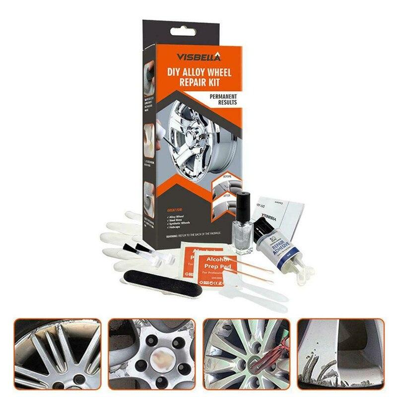 DIY Alloy Wheel Repair Kit 5 Minutes General Purpose Silver Paint Fix Tool Car Auto Rim Dent Scratch Car Wheel Repair Kit