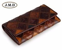 JMD Tanned Genuine Leather Folded Wallet For Women's Leather Long Wallet 8093 3C